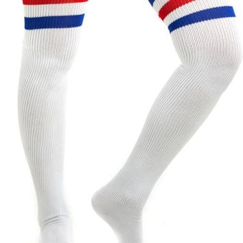Vintage Deadstock American Apparel White With Red & Blue Thigh High Tube Socks