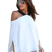 White 2017 Summer Autumn Women Sexy Off Shoulder Tops Blouse Shirt Pleated Flare Sleeve Female Clothes