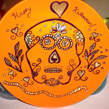 Happy Halloween Sugar Skull Painted Orange Plate with Gold and Black Paint Handmade Holiday Decor Table Wall Party Plate
