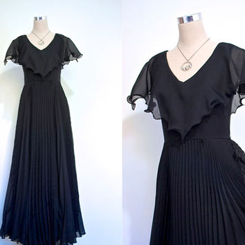 Black Organza Evening Gown / 1970's Party Dress / Vintage Prom / Flowing Pleated Maxi Dress