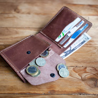 Slim wallets coin pocket wallets billfold wallet minimal wallet brown genuine leather wallet credit card wallet card holder travel wallet