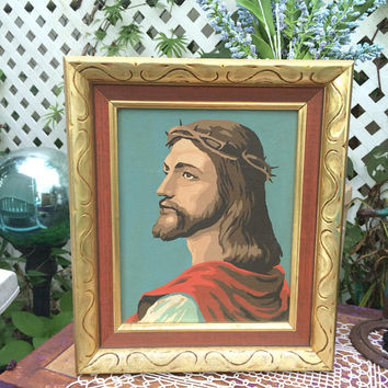 Vintage Painting Original Art American folk art artwork painting wooden framed handmade Christian LORD Jesus