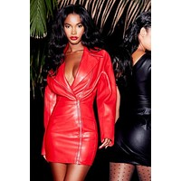 High Quality Red Long Sleeve Front Zipper Leather Sexy Dress Evening Party Pencil Dress