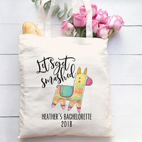 Let's get Smashed Pinata Bachelorette Party Totes -  Personalized Bachelorette Tote Bag, Bridesmaid Gift, Mexico Bachelorette, Custom Tote