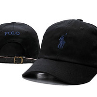 Trendy Fashion Black POLO Embroidered Baseball Cap Hat