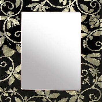 Mother of Pearl Tapestry Vanity Mirror by Lara Moore: Mixed Media Mirror | Artful Home
