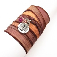 Silk Wrap Bracelet with Tree of Life | charmed design