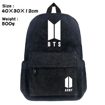 Boys bookbag trendy Lot KPOP BTS School Backpack Student  Cosplay Bangtan Boys Black Unisex Shoulder Laptop Travel Bag SUGA J-HOPE JIMIN Gift AT_51_3