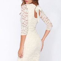 Black Swan Tinsel Cream Lace Midi Dress