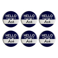Ace Hello My Name Is Plastic Resin Button Set of 6