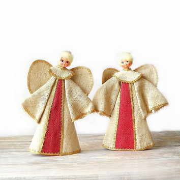 Burlap Angel Decorations, Vintage Christmas Decor