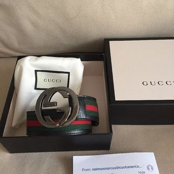 Gucci Mens Web Belt Size:95 With Receipt