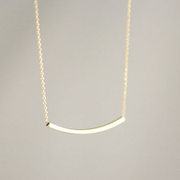 curved bar necklace in gold by LemonTreeLand on Etsy