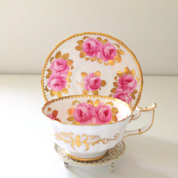 Antique English Royal Chelsea Cabbage Rose Pattern Fine Bone China Tea Cup & Saucer Tea Party