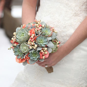 Succulent bouquet, rustic bouquet,bridal bouquet,bridal succulents, wedding scculents, mint and coral bouquet