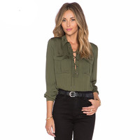 Summer Fashion Ladies Office Shirts Lace Top Long Sleeve Designer Tops Army Green Formal Shirts