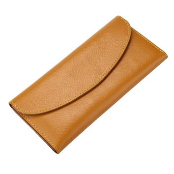 BLEVOLO Fashion Unisex Wallets Genuine Leather Long Purses Thin Money Clips Soft Solid Hasp Wallet For Men Women Wallet Bags