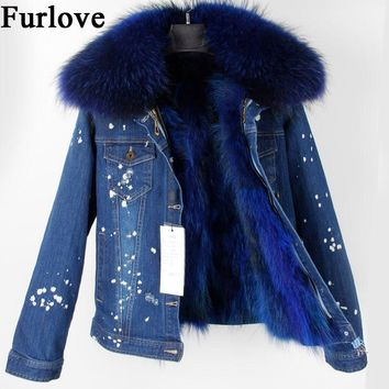 Jeans Jacket Women Fashion Denim Jackets Short Real Raccoon Fur Collar And Lining Parka Winter Coat Thick Warm female parkas