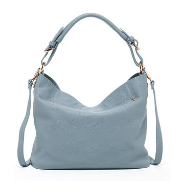 Lauren - Leather Hobo Bag with Crossbody Strap