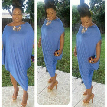 Extravagant Loose Dress /  Asymmetric Off Shoulder Dress / Wide Oversize Tunic / Dress Soft Jersey