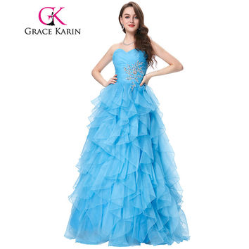 Red Blue Quinceanera Dress 2017 Grace Karin Strapless Formal Vestidos Long Ball Gown Organza Prom Dresses for Sweet 16 Years