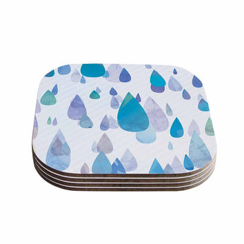 "Noonday Design ""I Smile When Its Raining"" Blue Purple Coasters (Set of 4)"