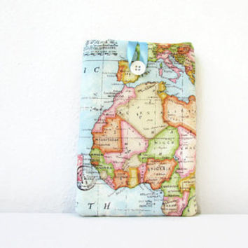 Map print Kindle case, 7 inch tablet cover, padded tablet sleeve, nexus 7, kindle fire, Samsung galaxy tab 7, handmade in the UK