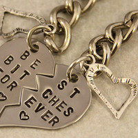Best Bitches Forever Keychain - BFF Gift, Best Bitches Split Heart Key Chain - Hand Stamped Best Friend Keychains - Stainless Steel