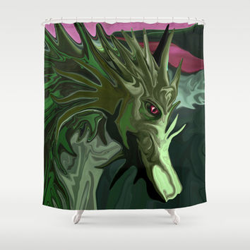 Watermelon Tourmaline Dragon  Shower Curtain by Distortion Art