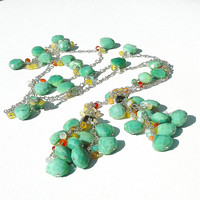 Peruvian Opal Teardrop Wrap / Mexican Fire Necklace / Sterling Silver / Lariat / Gifts For Her / Green / Multicolor / OOAK