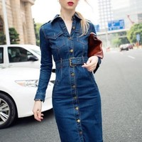 Lapel Single-Breasted Jean Women's Day Dress