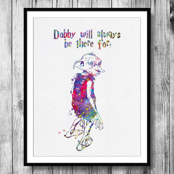 Instant Download Dobby Quote from Harry Potter Watercolor Art Digital Printable PNG JPEG Wall Art For Kids Art Clip Art Wall Decor