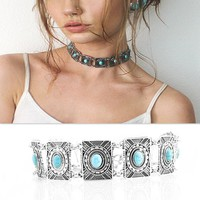 New Arrival Jewelry Gift Shiny Stylish Strong Character Vintage Geometric Metal Turquoise Necklace [11731905935]