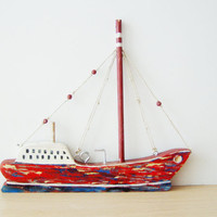 Red wooden sailboat, two sided wooden Greek sailboat, made of recycled beehives' wood, unique, completely handmade