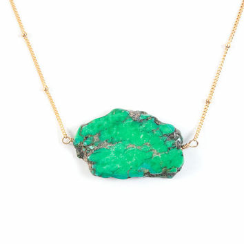 Natural Green Nepal Turquoise Necklace, 14kt Gold Filled Necklace, Minimalist Necklace, Everyday Necklace