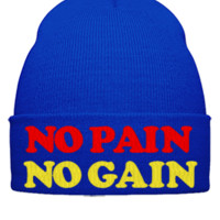 NO PAIN NO GAIN EMBROIDERY HAT - Beanie Cuffed Knit Cap