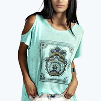 Layla Ethnic Hand Print Cold Shoulder Tee