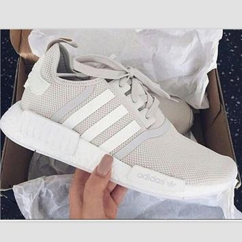 "Women/Men ""Adidas"" Fashion Trending Beige And Gray Leisure Running Sports Shoes Beige"