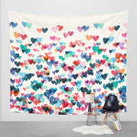 Heart Connections - watercolor painting Wall Tapestry by Micklyn