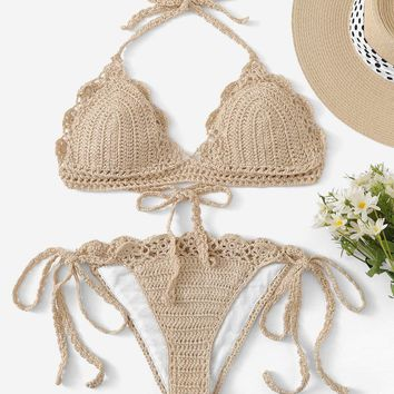 Scalloped Trim Crochet Halter Top With Tie Side Bikini