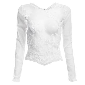 Round Collar Long Sleeve Embroidery Pure Color See-Through Women Top Crop