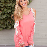 Beauty in Lace Tunic Coral