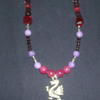 Dragon Pendant necklace with Pink Jade, White Jade, Purple Crazy Lace Agate beads, Garnet colored glass, and Swarovski Crystal beads