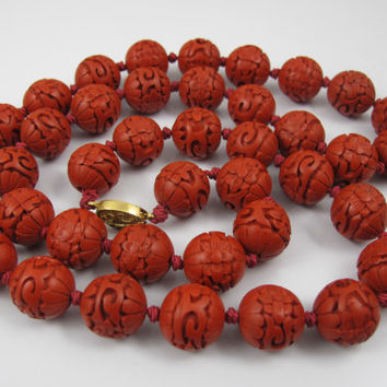 Vintage Chinese Cinnabar Necklace Hand Knotted Hand Carved Flowers 30""