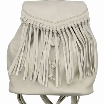 Cream Fringe Backpack