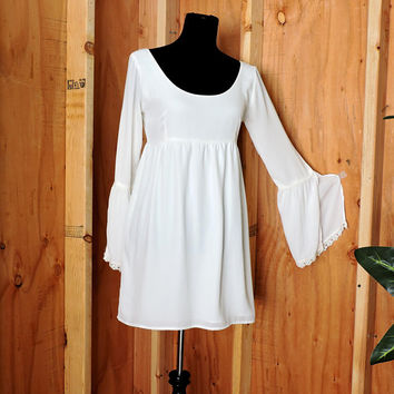 White mini dress / size S / 90s does 70s white chiffon babydoll dress / boho gypsy wedding / festival dress
