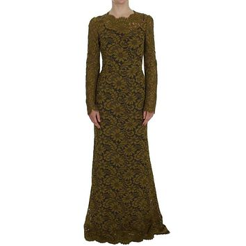 Dolce & Gabbana Olive Green Floral Lace Ricamo Maxi Dress