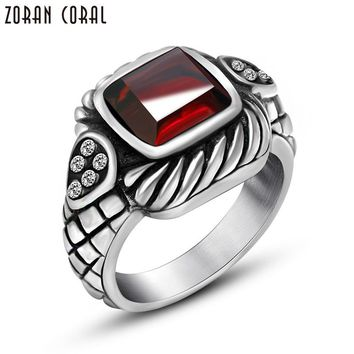 Zoran Coral Punk Style square crystal zirconia stone Ring Men's Vintage Jewelry High Quality Finger Rings For Man red black 8004