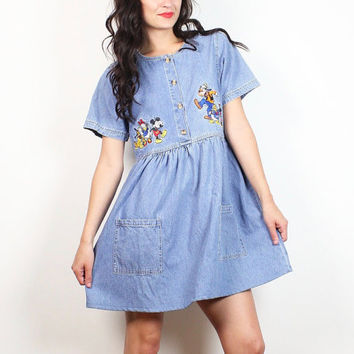 735b2063db Vintage 90s Mini Babydoll Dress Chambray Blue Denim Embroidered