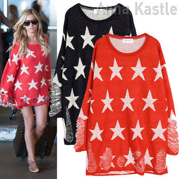 AnnaKastle New Womens Star Print with Rips Knit Sweater Top Red size S - M